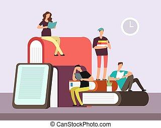 mujer, estudiantes, joven, book., colegio, lectura, hombre