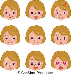 mujer, expresión, facial