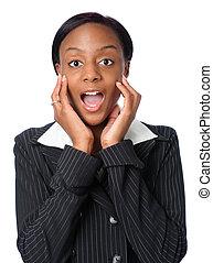 mujer, expresing, sorpresa