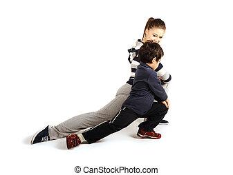 mujer, familia , -, joven, dentro, condición física, ejercicios, niño