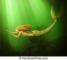 mujer, fantasy., sirena, hermoso