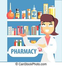 mujer, farmacéutico, farmacia, estante, surtido, droga, se manifestar