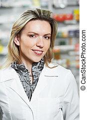 mujer, farmacia, químico, farmacia