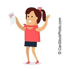 mujer feliz, con, carta, plano, vector, ilustración