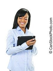 mujer feliz, con, tableta, computadora