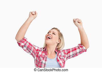 mujer feliz, levantar, ella, dos, puños