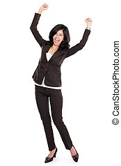 mujer feliz, negocio asiático, excitado