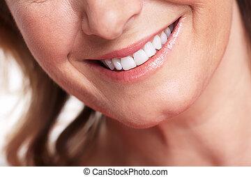 mujer feliz, smile.