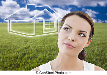 mujer, figura, casa, campo, atrás, pasto o césped, ghosted