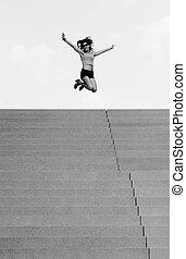 mujer, fin, escalera, joven, largo, Saltar