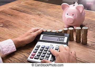 mujer, finanzas, calculador