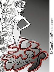 mujer, flor, plano de fondo