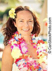 mujer, flores, hawaiano, guirnalda