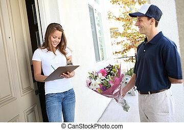 mujer, flores, recibiendo, bastante