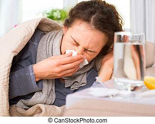 mujer, flu., agarrado, estornudar, cold., tejido, enfermo,...