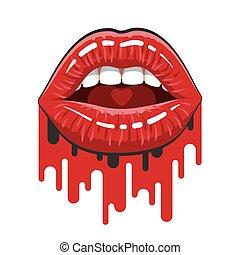 mujer, flujos, pintura, labios, boca abre, rojo