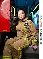 mujer, fuego, imagen, bombero, camión, plano de fondo