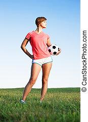 mujer, futbol, joven, juego