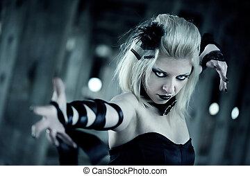 mujer, gótico