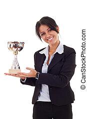 mujer, ganando, trofeo