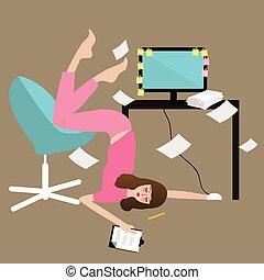 mujer, gente, papel, trabajo excesivo, cansado, computadora, lleno, trabajo duro, agotado, frente