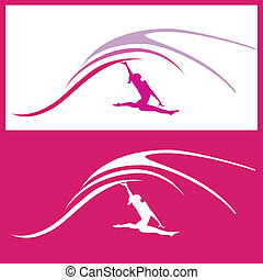 mujer, gimnasia, vector