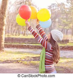 mujer, Globos, colorido