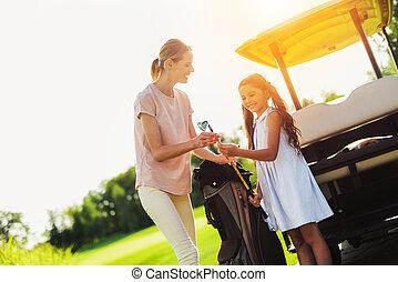 mujer, golf, sólo, club, bolsa, clubes, ella, niña, tirado,...