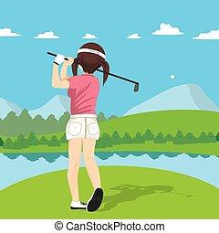 mujer, golf