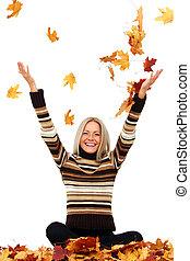 mujer, gota, arriba, otoño sale