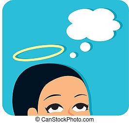 mujer, gráfico, ángel, halo