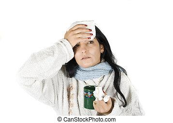 mujer, gripe, teniendo
