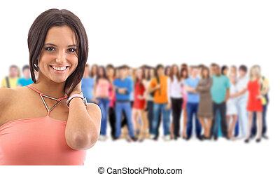 mujer, grupo, students., grande, encima, joven, plano de...