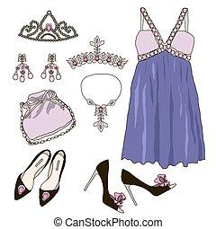 mujer, guardarropa, ropa, accesorios, conjunto