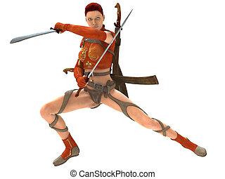 mujer, guerrero, con, espadas