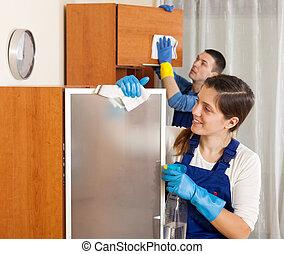 mujer, habitación, hombre, limpieza