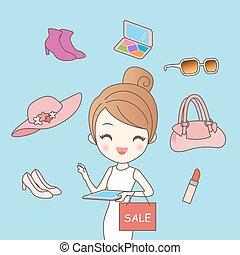 mujer, hacer, compras en línea