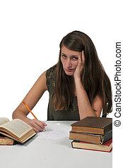 mujer, hacer, deberes