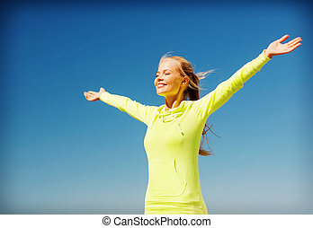 mujer, hacer, deportes, aire libre