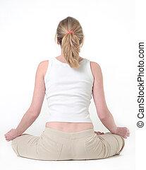 mujer, hacer, el, postura lotus, en, yoga