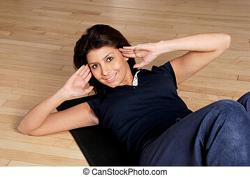 mujer, hacer, sit ups