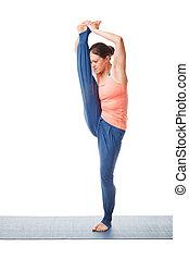 mujer, hacer, yoga, asana, utthita, hasta, padangustasana, aislado