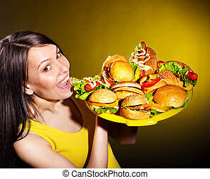mujer, hamburger., delgado, tenencia