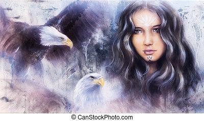 mujer hermosa, airbrush, cara, t, pintura, encantador