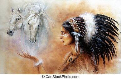 mujer hermosa, airbrush, joven, indio, pintura