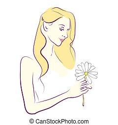 mujer hermosa, aislado, en, un, blanco