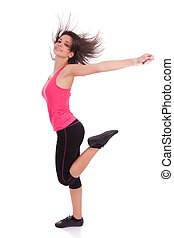 mujer hermosa, bailando, joven, condición física, caucásico