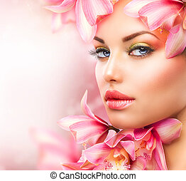 mujer hermosa, belleza, cara, flowers., niña, orquídea