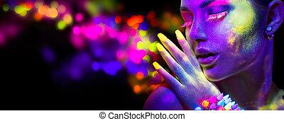 mujer hermosa, belleza, maquillaje, luz de neón, retrato, fluorescente, modelo