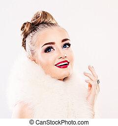 mujer hermosa, belleza, maquillaje, moda, smiling.winter, rubio, modelo